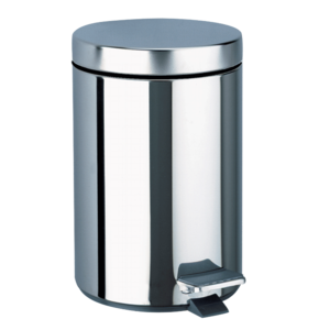 Round pedal bin, stainless steel, 3 litres