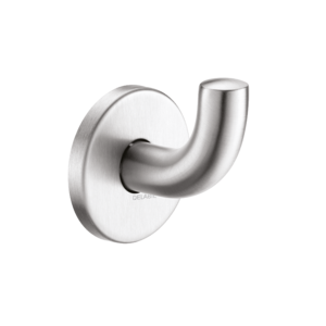 Satin stainless steel coat hook, short version