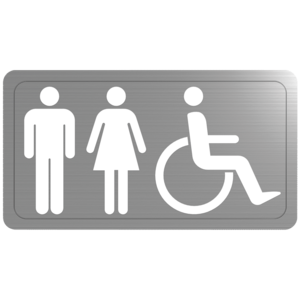 Stainless steel toilet sign
