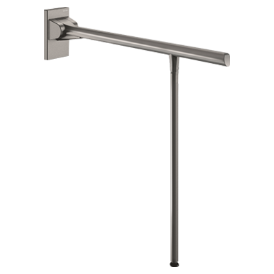 Drop-down support rail with leg