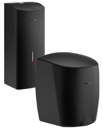 Black wall-mounted soap dispenser