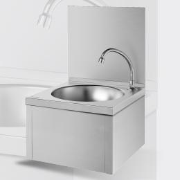 Knee-operated mechanical hand washbasin