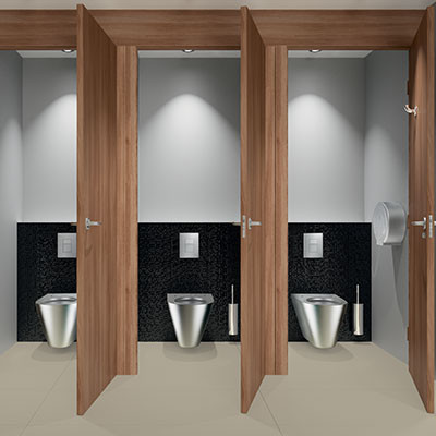 What are the problems faced by commercial washrooms?