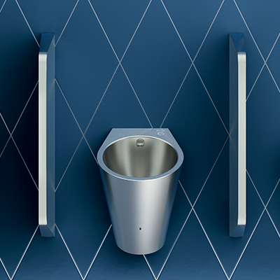 HYBRIMATIC FINO stainless steel hybrid urinal